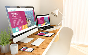 website responsive concept on devices
